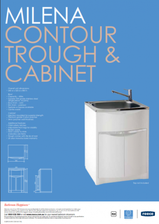Milena laundry sink trough and cabinet pamphlet with plumbing measurements