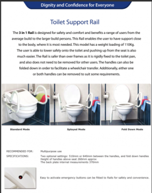 A picture of a toilet support rail