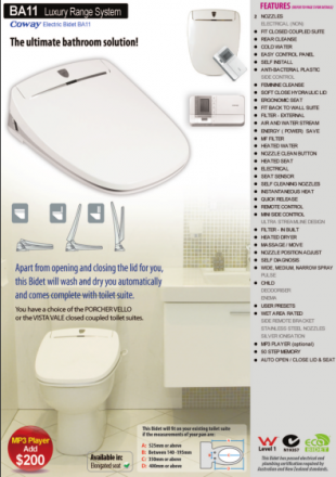 Coway BA11 electronic bidet toilet seat plumber's pamphlet with measuring guide