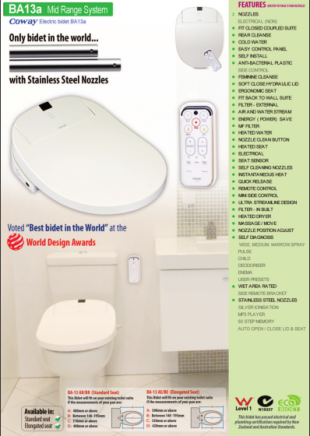 Coway BA13a electronic bidet toilet seat plumber's pamphlet with measuring guide
