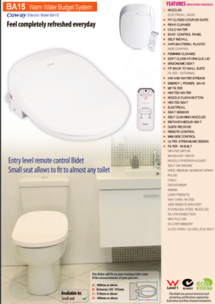 Coway BA15 electronic bidet toilet seat plumber's pamphlet with measuring guide