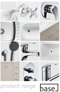Base tapware and plumbing fixture range with plumbers installation notes