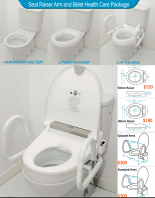 A picture of a toilet seat raiser with support arms